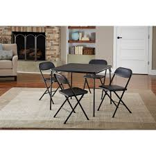 Large Square Folding Table by Cosco 5 Piece Card Table Set Black Walmart Com
