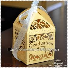 graduation boxes laser cut gold graduation gift filigree wedding favor boxes in