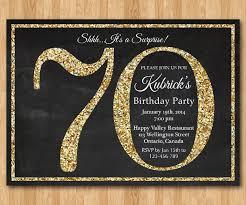 70th birthday invitation gold glitter birthday party by arthomer
