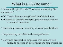 Difference Between Cv And Resume How To Write A Cv What Is A Cv Resume Resume Origin French Word