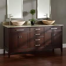 Double Sink Vanities For Bathrooms by Bathroom Elegant Bamboo Double Vessel Sink Bathroom Vanity