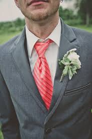 Coral Boutonniere Groom U0027s Striped Coral Tie And White Rose Boutonniere With Dusty Miller