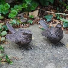 set of 2 detailed polyresin garden wren bird ornaments gardens2you