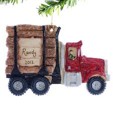 log truck christmas ornament personalized red by christmaskeeper