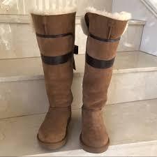 ugg shoes australia brown boots poshmark ugg shoes australia genevieve bowtrimmed suede boots poshmark