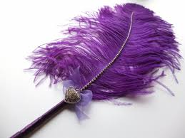 large ostrich feather pen purple with heart shape brooch