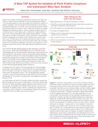 Anti Flag Affinity Gel A New Tap System For Isolation Of Plant Protein Complexes And