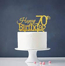 amazon com happy 70th birthday cake topper gold 70th birthday