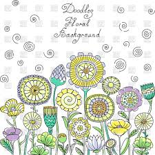 yellow blue and green pastel floral pattern with spirals swirls