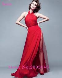 waulizane 2017 new design charming halter red a line evening dress