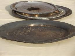 silver plate lot of round trays for buffet plates or serving