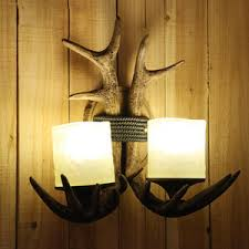 Antler Wall Sconce Antler Country Style 2 Light Restaurant Wall Sconces Lighting