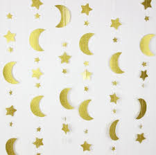 2pcs moon and garland gold glitter hanging decoration