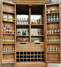 Rustic Kitchen Storage - best free standing kitchen pantry for bottles and spices on door