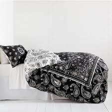 Black Duvet Covers Bandana Print Reversible Duvet Cover And Sham Set U2013 Charcoal