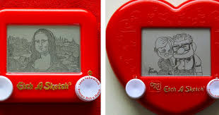 artist uses etch a sketch to recreate paintings