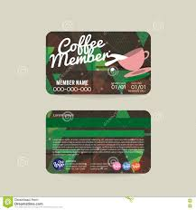 Membership Cards Design Front And Back Coffee Voucher Of Member Card Template Stock Vector