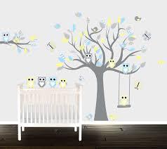 Nursery Owl Wall Decals Boys Grey Yellow Owl Wall Decals Nursery Wall Stickers