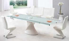 White Glass Extending Dining Table Furniture Modern Futuristic Furniture Features White Six Seater