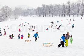 ljubljana slovenia jan 3 2016 children sledding and