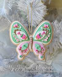 handcrafted polymer clay butterfly ornament by miller on etsy