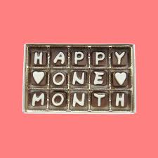 gift of the month month anniversary gift happy one 1 month cubic chocolate