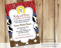 western baby shower starlite printables invitations stationery cowboy western theme