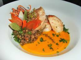 cuisiner des joues de lotte joues de lotte créme de carottes ragout de lentilles vertes du puy