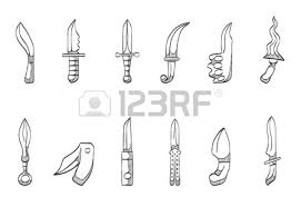 knives icon series hand drawn sketches royalty free cliparts