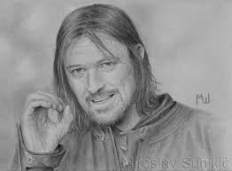 pencil drawing of boromir from the fellowship of the ring draw