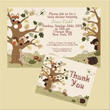 woodland animal echo forest friends theme baby shower invitation