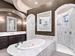 bathroom dressing beige floor tile built in bench skylight mirror