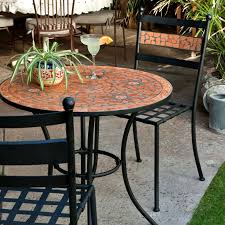 Black And White Patio Furniture Dining Room Mosaic Bistro Table With Black Legs And Double Chairs