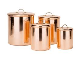 kitchen canister set storage copper coffee tea sugar canisters
