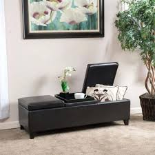 Leather Storage Ottoman With Tray Flip Top Storage Ottoman Wood Tray Top Leather Espresso Tray Top