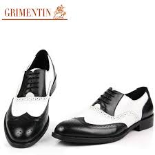 black and white mens shoes dress genuine leather oxford shoes for