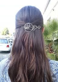 hair slide rustic copper hair barrette hammered circle hair clip metal hair