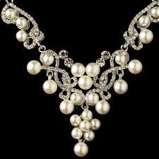pearl rhinestone necklace images Rhodium white pearl rhinestone swirl jewelry set 4213 jpg