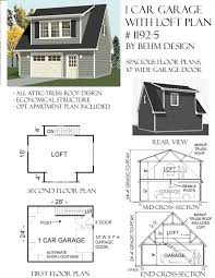 1192 5 24 u0027 x 28 u0027 1 car garage plan with loft behm garage