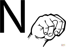 asl sign language letter n coloring page free printable coloring