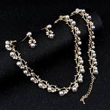 crystal pearl necklace set images Classic imitation pearl necklace gold color jewelry set for women jpg