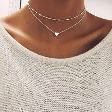 love heart choker necklace images 2017 simple love heart choker necklace for women multi layer beads jpg