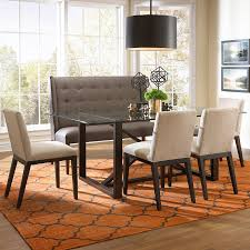 Wood Dining Chairs Bemodern Argo Contemporary Dining Set With Settee Belfort