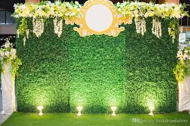 wedding backdrop on stage 10x8ft green wall backdrop wedding white yellow flowers stage