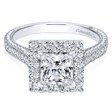 princess cut white gold engagement rings 14k white gold princess cut halo engagement ring er7481w44jj