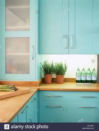modern kitchen units modern kitchen turquoise kitchen units cupboards stock photo