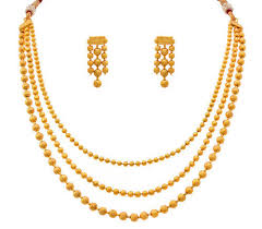 gold plated bead necklace images Jfl gold plated bead necklace set with earring at rs 479 set jpg