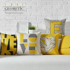 theme pillows geometry yellow theme simple modern pillow cover home