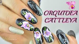 decoración uñas orquídea cattleya mano alzada nail art cattleya