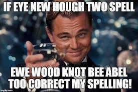Spelling Police Meme - leonardo dicaprio cheers meme imgflip